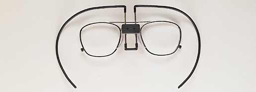 Metal Frame facepiece. Positions with spring-wire clips. 46mm and 52mm eye sizes Silvertone